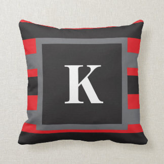 Monogrammed Striped Pillow