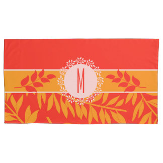 Monogrammed Summer Coral and Yellow Branches Pillowcase