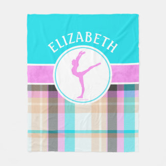 Monogrammed Summer Tartan Gymnastics Golly Girls Fleece Blanket