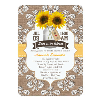 "Monogrammed Sunflower Mason Jar Bridal Shower 5"" X 7"" Invitation Card"