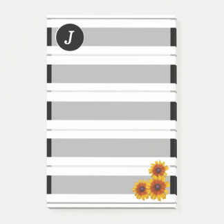 Monogrammed Sunflowers Post-it Notes