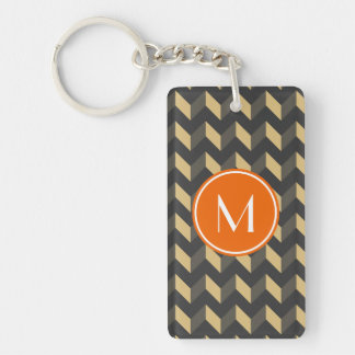 Monogrammed Tan and Gray Chevron Patchwork Pattern Double-Sided Rectangular Acrylic Keychain