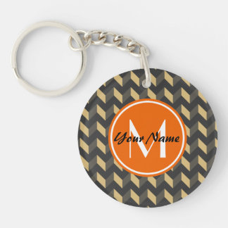 Monogrammed Tan and Gray Chevron Patchwork Pattern Double-Sided Round Acrylic Keychain
