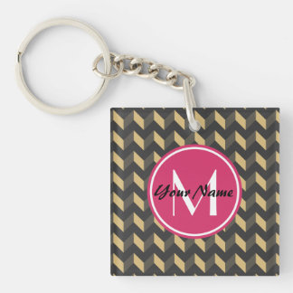 Monogrammed Tan and Gray Chevron Patchwork Pattern Double-Sided Square Acrylic Keychain