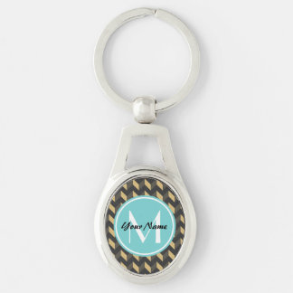 Monogrammed Tan and Gray Chevron Patchwork Pattern Silver-Colored Oval Metal Keychain