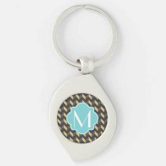 Monogrammed Tan and Gray Chevron Patchwork Pattern Silver-Colored Swirl Metal Keychain