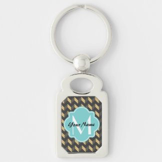 Monogrammed Tan and Gray Chevron Patchwork Pattern Silver-Colored Rectangle Keychain