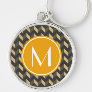 Monogrammed Tan and Gray Chevron Patchwork Pattern Silver-Colored Round Keychain