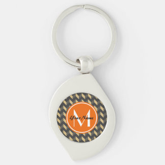 Monogrammed Tan and Gray Chevron Patchwork Pattern Silver-Colored Swirl Keychain