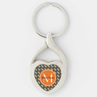Monogrammed Tan and Gray Chevron Patchwork Pattern Silver-Colored Twisted Heart Keychain