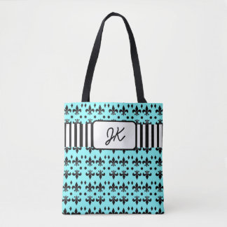 Monogrammed Teal and Black Anchors Beach Bag