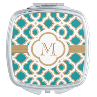 MONOGRAMMED TEAL AND BRUSHED GOLD MAKEUP MIRRORS
