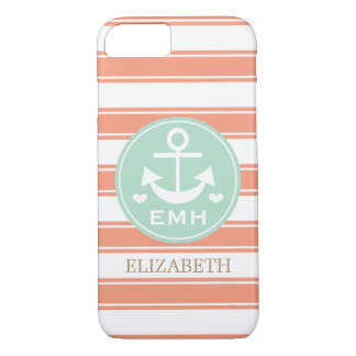 MONOGRAMMED TEAL AND CORAL ANCHOR iPhone 8/7 CASE