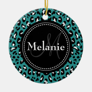 Monogrammed Teal Black White Leopard Pattern Double-Sided Ceramic Round Christmas Ornament