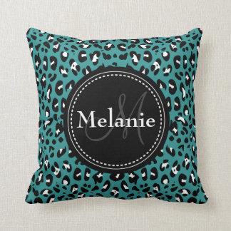 Monogrammed Teal Black White Leopard Pattern Pillows