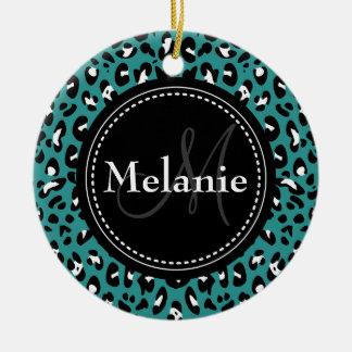Monogrammed Teal Black White Leopard Pattern Round Ceramic Ornament