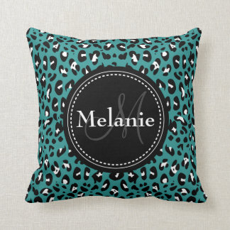 Monogrammed Teal Black White Leopard Pattern Throw Pillow