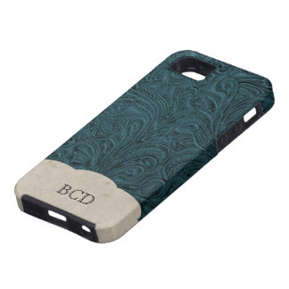 Monogrammed Teal Blue Leather Look Rustic Country iPhone 5 Cases