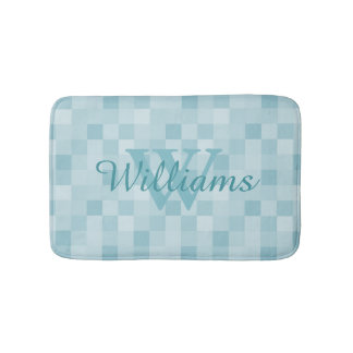 Monogrammed teal blue mozaic tile pattern bath mat