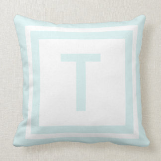 Monogrammed Throw Pillow - Blue & White