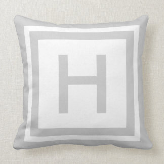 Monogrammed Throw Pillow - Grey & White
