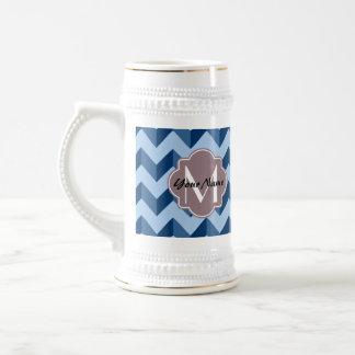 Monogrammed Tiffany and Navy Blue Modern Chevron Beer Stein