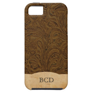 Monogrammed Tooled Leather Look Rustic Country iPhone 5 Cover