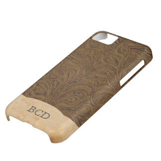 Monogrammed Tooled Leather Look Rustic Country iPhone 5C Cover