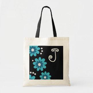 Monogrammed tote bags::Blue Flowers