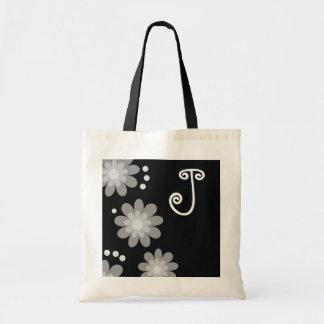 Monogrammed tote bags Silver Grey Flowers
