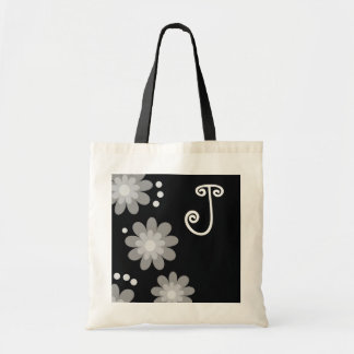Monogrammed tote bags::Silver Grey Flowers Budget Tote Bag