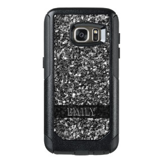 Monogrammed Trendy Gray White And Black  Glitter OtterBox Samsung Galaxy S7 Case