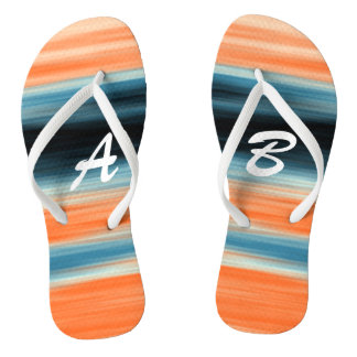 Monogrammed Trendy Orange Blue Stripes Flip Flops