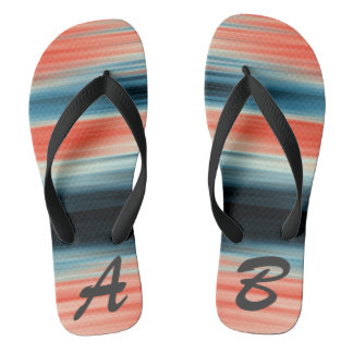 Monogrammed Trendy Orange Red Blue Stripes Flip Flops
