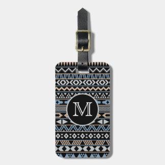 Monogrammed Tribal Pattern Drk Bag Tag