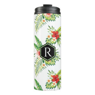 Monogrammed Tropical Hibiscus Seamless Pattern Thermal Tumbler
