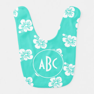 Monogrammed Turquoise and White Hawaiian Pattern Bib