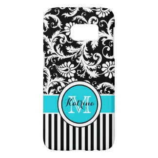 Monogrammed Turquoise, Black, White Striped Damask Samsung Galaxy S7 Case