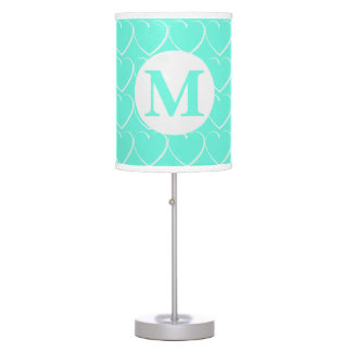 Monogrammed Turquoise Hearts Table Lamp