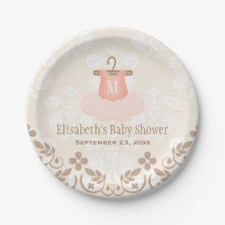 Monogrammed Tutu Ballet Themed Baby Shower Paper Plate