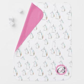 Monogrammed Unicorn baby blanket! Stroller Blankets