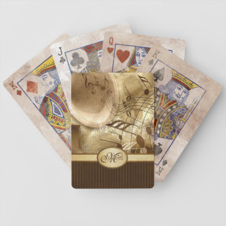 Monogrammed Vintage Gold Gramophone Musical Notes Bicycle Playing Cards