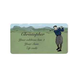 Monogrammed Vintage Style golf art Label