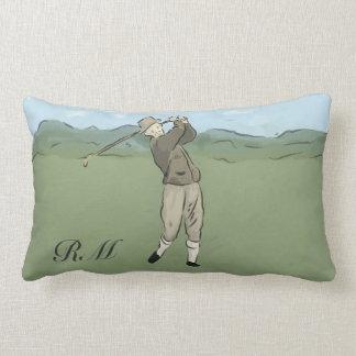 Monogrammed Vintage Style golf art Lumbar Pillow