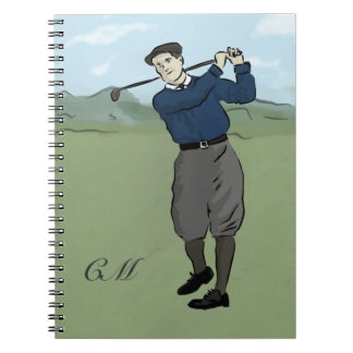Monogrammed Vintage Style golf art Spiral Notebook