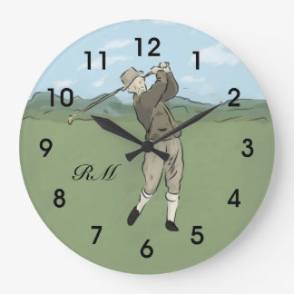 Monogrammed Vintage Style golf art Wall Clocks