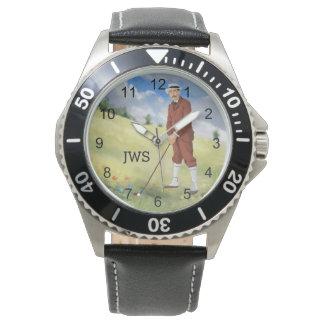Monogrammed  vintage style  golfer watch