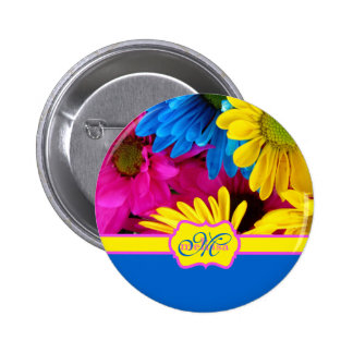 Monogrammed Vivid Cheery Daisies Pink Yellow Blue Pinback Buttons