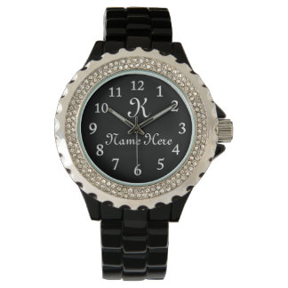 MONOGRAMMED Watch, Black Face Watches for Women