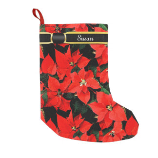 Monogrammed Watercolor Christmas Poinsettias Small Christmas Stocking